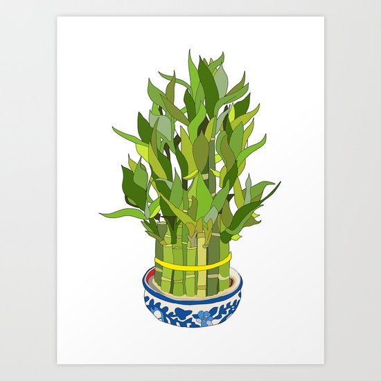 Lucky Bamboo in Porcelain Bowl Art Print