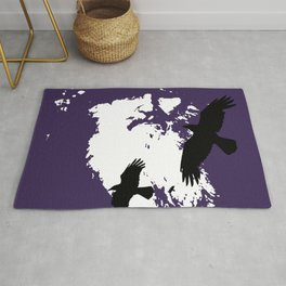 Odin Portrait and Silhouette of Ravens Vector Art Rug
