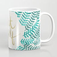 green Mugs featuring Treat Yo Self – Gold & Turquoise by Cat Coquillette