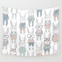 bunnies Wall Tapestries featuring BUNNIES by Catalina Graphic