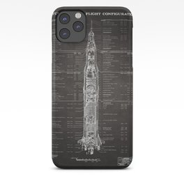 Apollo 11 Saturn V Blueprint in High Resolution (black) iPhone Case