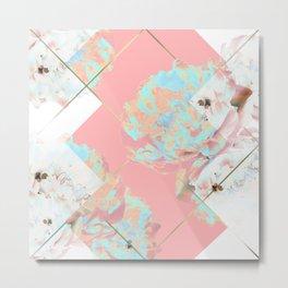 Abstract Blush Geometric Peonies Flowers Design Metal Print