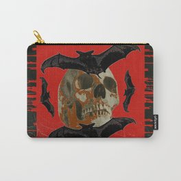 GRUNGY HALLOWEEN BAT INFESTED HAUNTED SKULL Carry-All Pouch