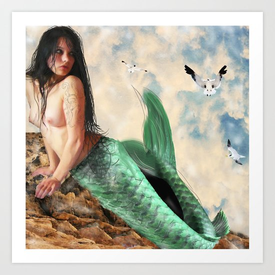 Sea Siren, Nude mermaid art Art Print