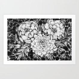 Dahlias & Peonies Black Art Print