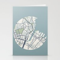 boston map Stationery Cards featuring Boston Map 2 by Sophie Calhoun