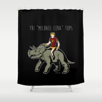 "michael scott Shower Curtains featuring Tri ""Michael Cera"" tops by zombieCraig"