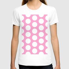 White circles on pink T-shirt