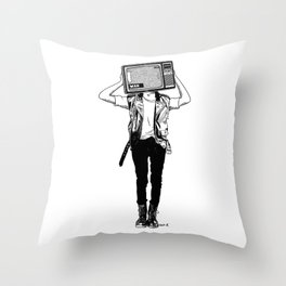 Stay tuned, listen to the news and try to fall asleep at night Throw Pillow