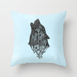Adventure Wolf - Nature Mountains Wolves Howling Design Black on Turquoise Blue Throw Pillow