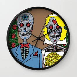 Day of the Dead Bride & Groom Portrait Wall Clock