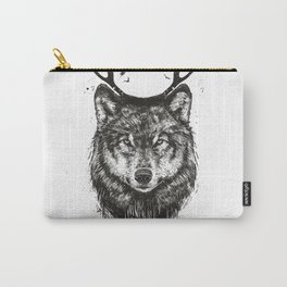 Deer wolf (b&w) Carry-All Pouch