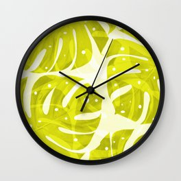 Lime Green Monstera Leaves Light Background #decor #society6 #buyart Wall Clock