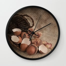 Basket with egg shells and roses Wall Clock