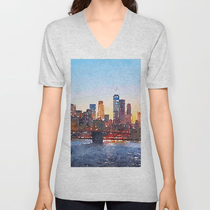 New York 2 Unisex V-Neck