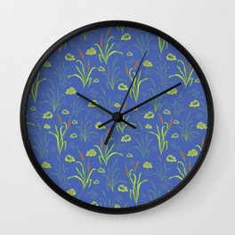 Bright Blue Pond Water With Bullrushes Wall Clock