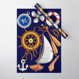 Nautical Marine and Navy Equipment Pattern Wrapping Paper