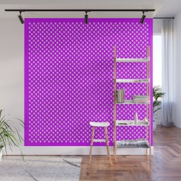 Tiny Paw Prints Pattern - Bright Magenta and White Wall Mural