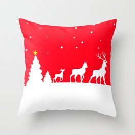 deer family in winter landscape Throw Pillow