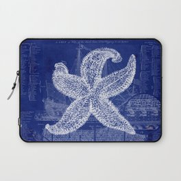 Vintage Starfish Blueprint Laptop Sleeve
