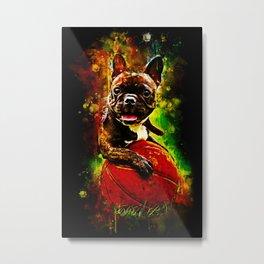 french bulldog basketball splatter watercolor Metal Print