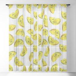 Lemon Slices Pattern White Sheer Curtain