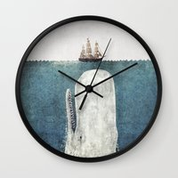 moby dick Wall Clocks featuring The Whale - vintage  by Terry Fan