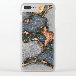 GREY & GOLD GEMSTONE Clear iPhone Case