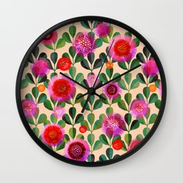 Bright Blooms Modern Hand-Print Floral Wall Clock
