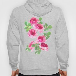 Raspberry Pink Painted Roses on White Hoody