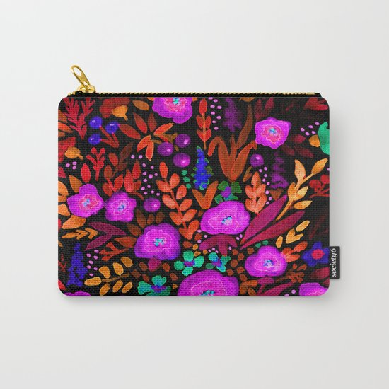 Watercolor colorful flower pattern on a black background . Carry-All Pouch