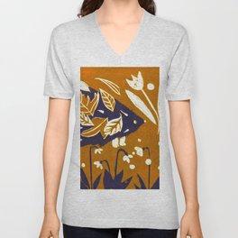 Hedgehog in Autumn Woods - Golden Orange Palette Unisex V-Neck