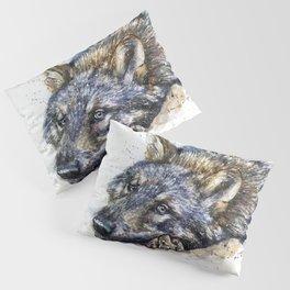 Wolf watercolor Pillow Sham