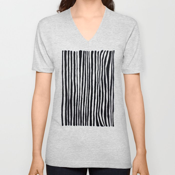 Black Stripes Unisex V-Neck