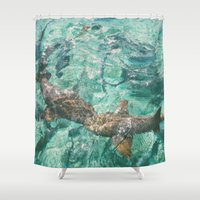 sharks Shower Curtains featuring Sharks by Chelle Wootten