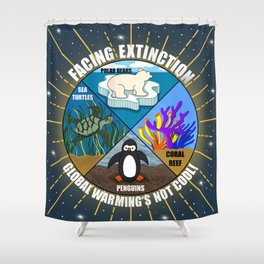 Facing Extinction:  Global Warming's Not Cool 2 Shower Curtain