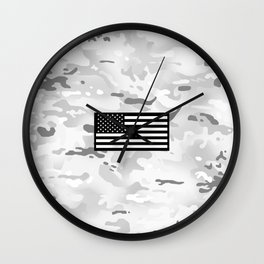 Arctic Camouflage: Black Flag Wall Clock