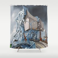 allyson johnson Shower Curtains featuring Johnson Street Bridge by Martycultural Art Inc