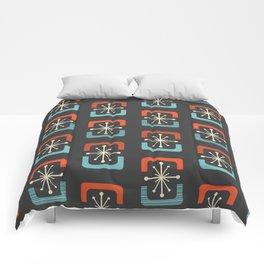 Mid Century Modern Starburst Shells Blue and Orange Comforters
