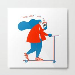 Riding Scooter Metal Print