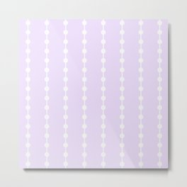 Geometric Droplets Pattern Linked - Pastel Lilac and White Metal Print