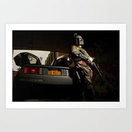 Mandalorian Delorean - Bobba Fett, Bounty Hunter  Art Print