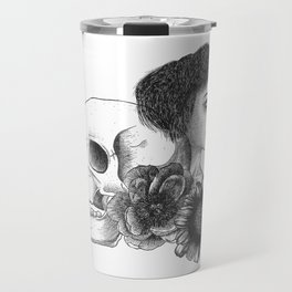 The Girl With A Skull And Flowers Travel Mug