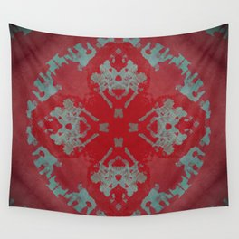 Red Ornament Abstract Design Wall Tapestry