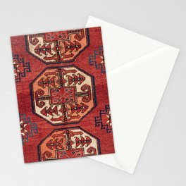 Orange Red Turkestan Medallions II 19th Century Authentic Colorful Geometric Vintage Patterns Stationery Cards