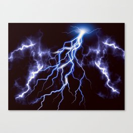 Blue Thunder Colorful Lightning graphic Canvas Print
