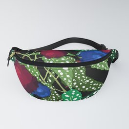 Moody Begonia Floral in Midnight Black Fanny Pack