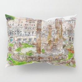 Aquarelle sketch art. Archaeological area of Largo Torre Argentina. Rome. Italy. Pillow Sham