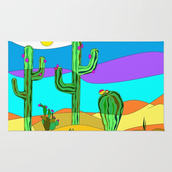 Southwest Desert Scene with Cactus and Sun Rug