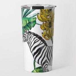 watercolor banana leaves with zebra Travel Mug